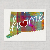 Connecticut Home - An Unframed 8x10 Modern & Whimsical State Pride Watercolor-Style Wall Art Print / Poster on Fine Art Paper