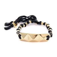 Black Knotted Vintage Ribbon Adjustable Bracelet with Gold Pyramid Row Charm