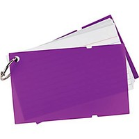 "Staples® Ruled Index Cards on a Ring, Purple Poly Cover, 3"" x 5"" 