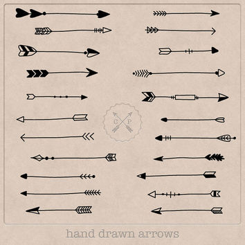 Black Hand Drawn Arrows Clipart (A set of 22). Use them for scrapbooking, graphic design or make logos from this tribal arrow clipart.