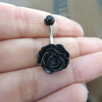 Black Rose Belly Button Ring Flower Navel Stud Jewelry Bar Barbell Piercing Azeeta Designs Azeetadesigns
