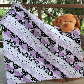 Modern Baby Crib Quilt, Quilted Baby Blanket, Lavender Black White Baby Bedding, Nursery Throw, Patchwork Quilt, Baby Shower, Unisex Quilt