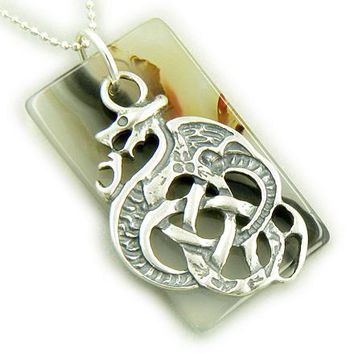 Dragon Celtic Sterling Silver Good Luck Agate Pendant Necklace