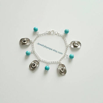 Cowboy Hat Bracelet Turquoise Bracelet Cowgirl Bracelet Silver Bracelet Statement Bracelet Wedding Gifts