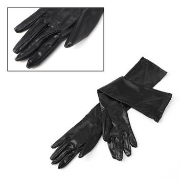 Sexy Women Gauntlet Lady Black Patent Leather Elastic Material Long Glove