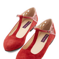 ModCloth Vintage Inspired Red, White, and Blues Dance Flat