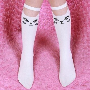 Toddlers Kids Girls Leg Warmer High Knee Socks School Cartoon Lace Stockings