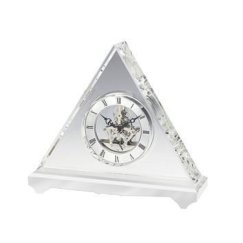 Personalized Free Engraving Pyramid Crystal Clock
