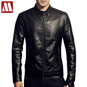 New 2018 PU Leather Jacket Men Black Red Brown Solid Mens Faux Fur Coats Trend Slim Fit Youth Motorcycle Suede Jackets for Male