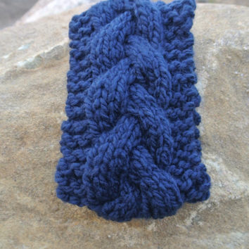 Earwarmer Braided Cabled Ear Warmer, Knit Cabled Ear Warmer, Knit Headband, Navy Ear Warmer