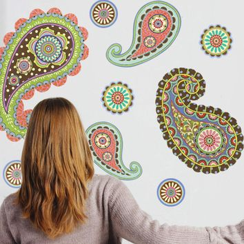 Paisley Dot Wall Decals, Eco Friendly Peel and Stick Removable and Reusable Fabric Wall Stickers