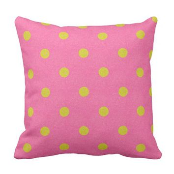 Pink and faux gold colored polka dots pillow