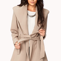 LOVE 21 Belted Broad Collar Coat