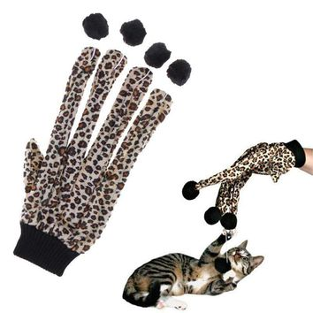 Leopard Glove with Balls Teaser Playing Toy for Cats