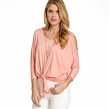 Karen Kane Cold Shoulder Tie-Front Top | Dillards.com
