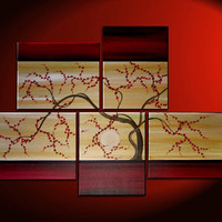 Large Tree Painting Red and Gold Zen Contemporary Abstract Asian Fusion Gnarly Plum Blossom Art Custom 56x40