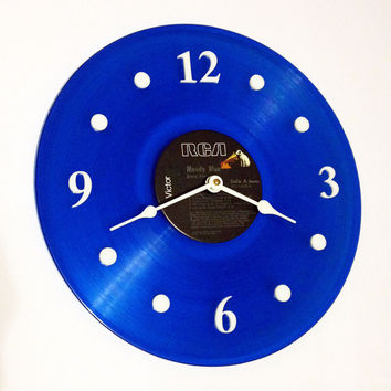 Clock, Vinyl Record Clock, Wall Clock, Elvis Blue Record, Recycled Music Record, Upcycle, Battery & Wall Hanger included