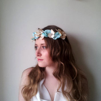 Bridal hair crown  Flower crown floral crown wedding wreath head piece, Boho garland, Pink flower crown, Silk Flowers - 'Cherub''