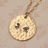 Double V Necklace Gold Medallion, Gold Layering Necklace, Stamped Arrow Pendant Layering Jewelry, Hammered Circle Necklace