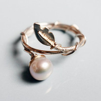 Pearl and vine Silver stacking ring