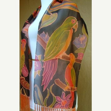 Parrots birds, Hand-painted Silk chiffon Scarf, unique gift woman mom, fringe scarf shawl wrap pianted, one of a kind artist accessory