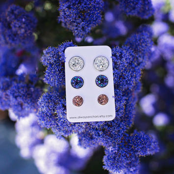 Mixed Size Faux Druzy Earring Set - Posts - Chunky Silver, Chunky Blue/Purple, Chunky Bronze L 12mm, MEDIUM 10mm, SMALL 8mm
