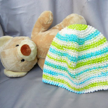 Cotton Crochet Cloche White Turquoise and Green by CroweShea