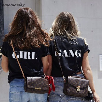 Custom girl gang BFF blogger slange tshirt team class tee tshirt print crop top unisex t shirt women top camiseta feminina