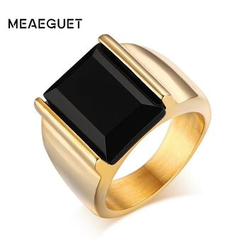Meaeguet Vintage Black Onyx Stone Rings Gold-color Stainless Steel Wedding Band Rings For Men Never Fade USA Size 7-12