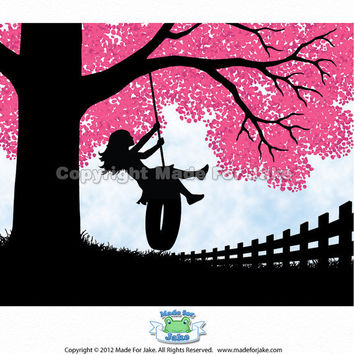 Girl Silhouette tire swing pink cherry blossom tree by Madeforjake