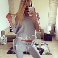"""Calvin Klein"" Women Casual Letter Print Long Sleeve Crop Tops Trousers Set Two-Piece Sportswear"