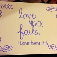 Love Never Fails Bible verse quote