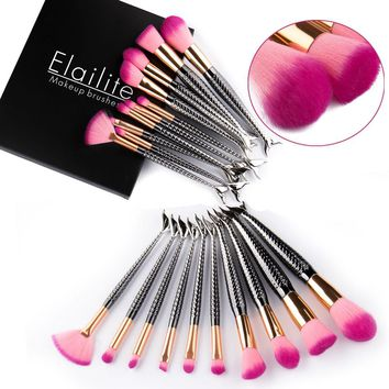 10PCS Unicorn Mermaid Makeup Brushes Foundation Cosmetic Soft Blush Face Powder Deluxe Black