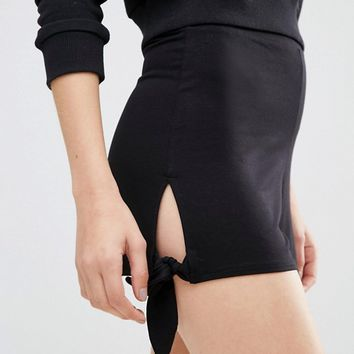 ASOS Split Shorts with Tie Hem at asos.com