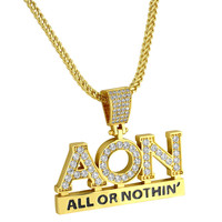 Designer Hip Hop All or Nothing Iced Out Pendant 14k Gold Finish Custom with Franco Chain