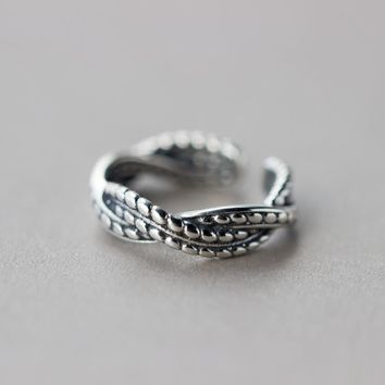 171206   S925 Sterling Silver Vintage Twist Weave Opening Ring J1140