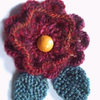 OOAK hand knitted flower brooch pin. Red and oranges.