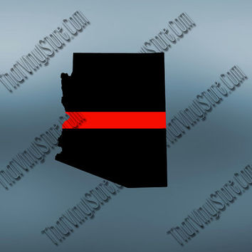 Arizona Back the Red Flag Thin Red Line Vinyl Decal | Yeti Fire Decal | American Flag | Fire Red Lives Matter | Firefighter | 405