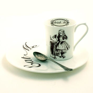 Alice in Wonderland Cup Sandwich Snack Plate Breakfast Set Eat Drink Me Bone China Tea or Coffee Whimsical Lewis Carrol White Brown Cup