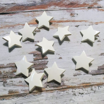 White Star Vintage Buttons . Ten Star Buttons . Novelty Button . Shank Button .