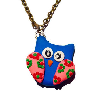 Blue Owl Pendant Polymer Clay Owl Charm Clay Owl Necklace Floral Owl Necklace Bird Jewelry Spring Jewelry Mini Owl Pendant Clay Bird