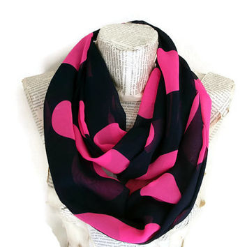 Pink Navy Blue Polka Dots Infinity Scarf, Christmas Gifts Ideas, Woman Accessories