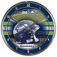 Seattle Seahawks NFL Chrome Round Clock