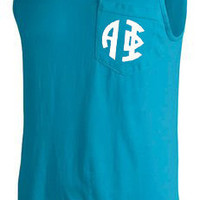 SALE!! CUSTOM Comfort Color Greek (Sorority or Fraternity) Letter Pocket Tank