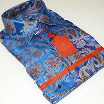 Men's Leonardi Shirt French Cuff Shiny Paisley Club Stage Entertainer 248 Blue