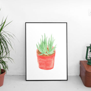 Instant Printable, printable art, printable wall art, wall art prints, digital prints, succulent, botanical art, watercolor, cactus print
