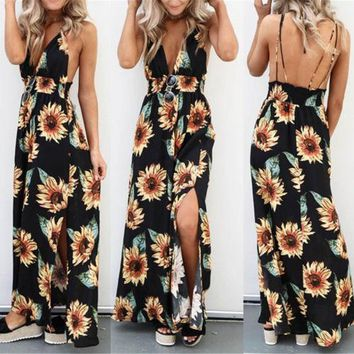 3b56eeb565b3 Sunflower Dress For Women Long Maxi Dress Backless Summer Sleeve