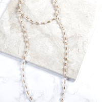 Beaded Wrap Stretch Necklace, White