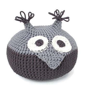 handmade crocheted POUF toy OWLET