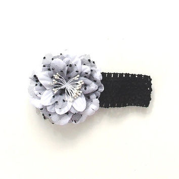 White flower Headband,black stretch band white flower with black lace, baby girl,  girl's, women's,